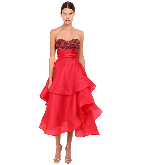 MARCHESA Strapless Satin-Faced Organza Tea-Length Gown With Crystal Encrusted Bustier And Multilayered Cascad at 6PM.COM