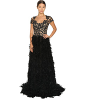 Marchesa - Threadwork and Jet Crystal Embroidered A-Line Gown with Fringed Feather Skirt