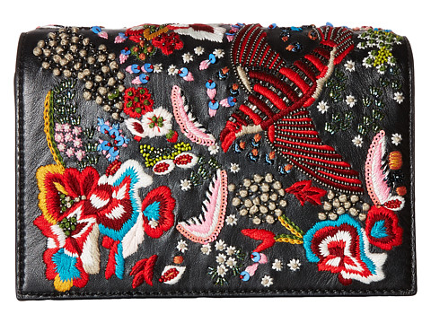 Alice + Olivia Embroidered Leather Bird Party Clutch