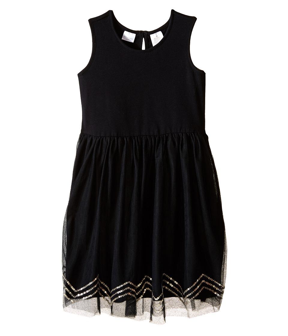 Kardashian Kids Knit Dress w/ Tulle Skirt Chevron Sequin Trim Toddler/Little Kids Black Girls Dress
