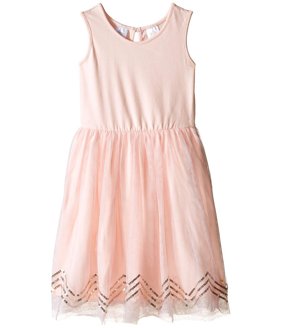Kardashian Kids Knit Dress w/ Tulle Skirt Chevron Sequin Trim Toddler/Little Kids Ice Pink Girls Dress