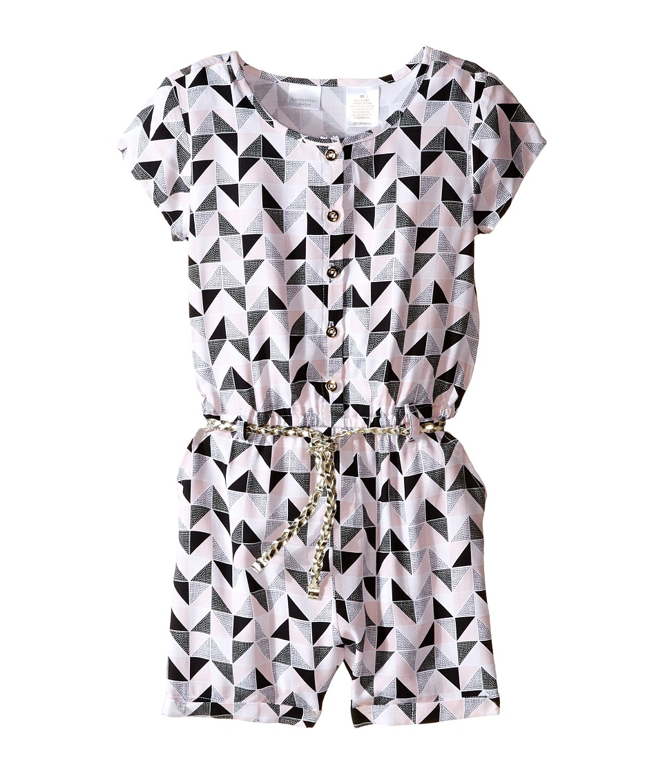 Kardashian Kids Print Romper with Gold Plaited Belt Toddler/Little Kids Print Multi Girls Jumpsuit Rompers One Piece