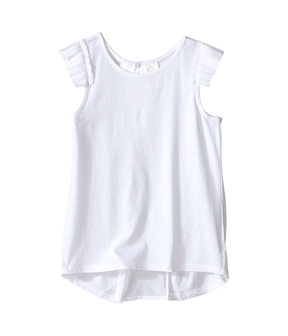 Kardashian Kids Jersey Tee with Pleated Sleeve and Crepe Pleat Back Toddler/Little Kids White Girls T Shirt