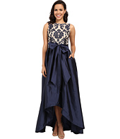 Adrianna Papell - Embroidered Lace Taffeta Ball Gown