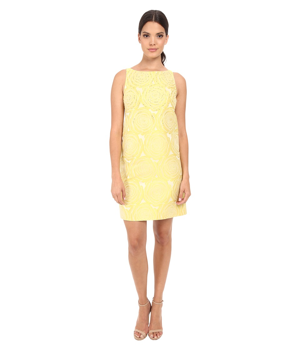 Adrianna Papell A Line Beaded Jacquard Yellow Womens Dress