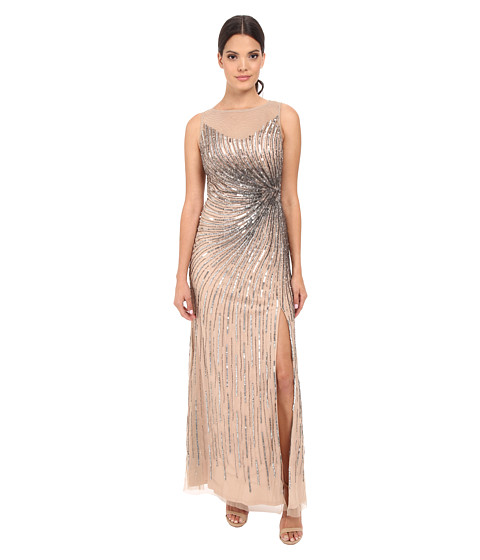 Adrianna Papell Sleeveless Beaded Mermaid Slit Gown