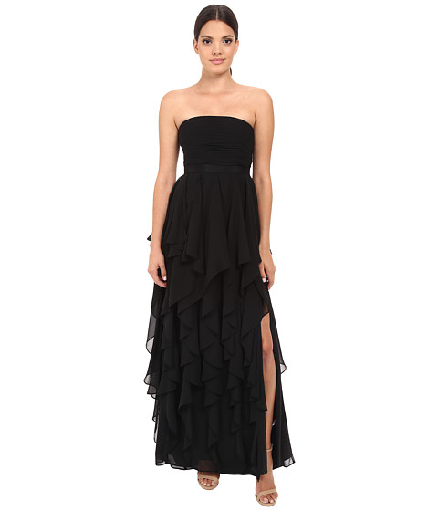 Adrianna Papell Strapless Chiffon Ruffle Gown