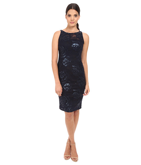 Adrianna Papell Sequin Embroidered Floral Sheath
