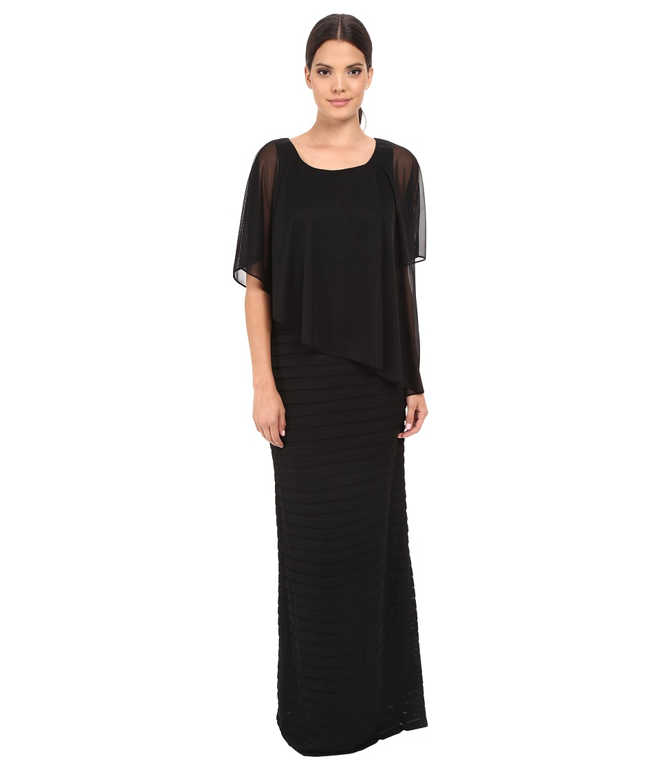 Adrianna Papell Asymmetrical Caplet Tucked Gown Black Womens Dress