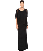 Adrianna Papell - Asymmetrical Caplet Tucked Gown