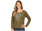 Love Heart Marled Terry Crew