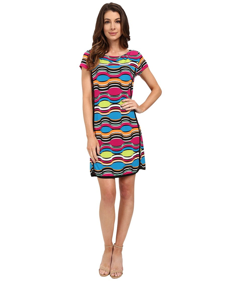 Laundry by Shelli Segal Print Matte Jersey Short Sleeve T Dress Blue Womens Dress