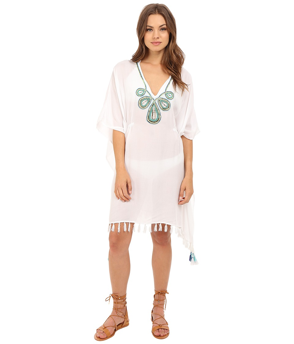 JETS by Jessika Allen Adorn Embroidered Kaftan Cover Up White Womens Swimwear