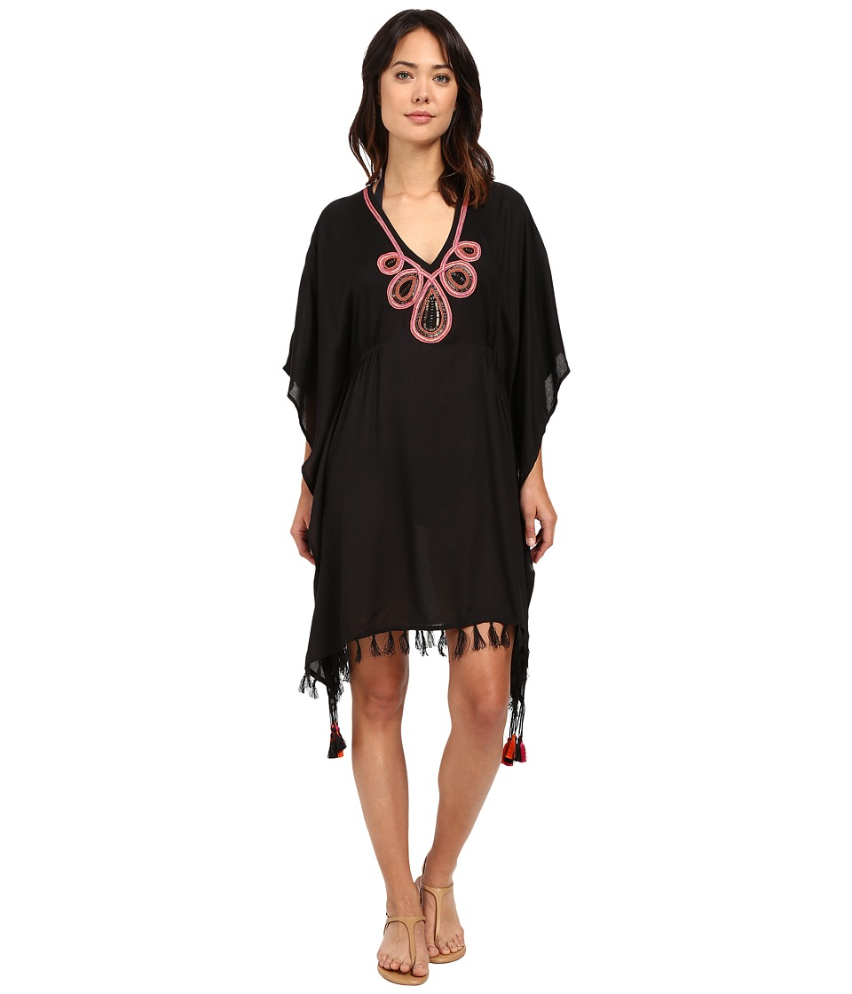 JETS by Jessika Allen Adorn Embroidered Kaftan Cover Up Black Womens Swimwear