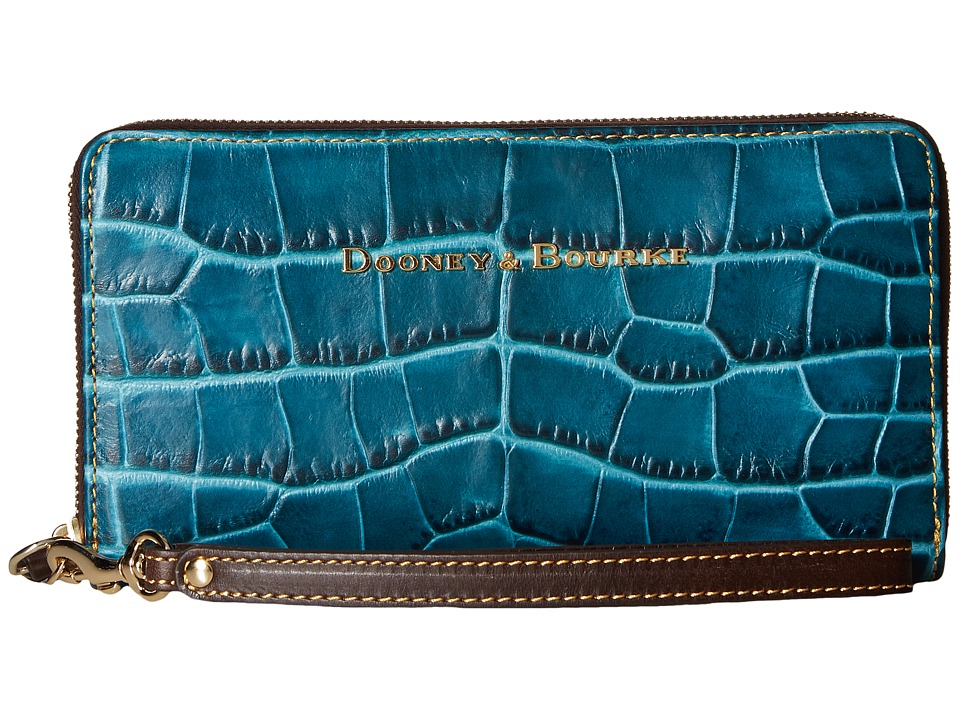 Dooney & Bourke - City Lafayette Large Zip Around Wristlet (Teal) Wristlet Handbags