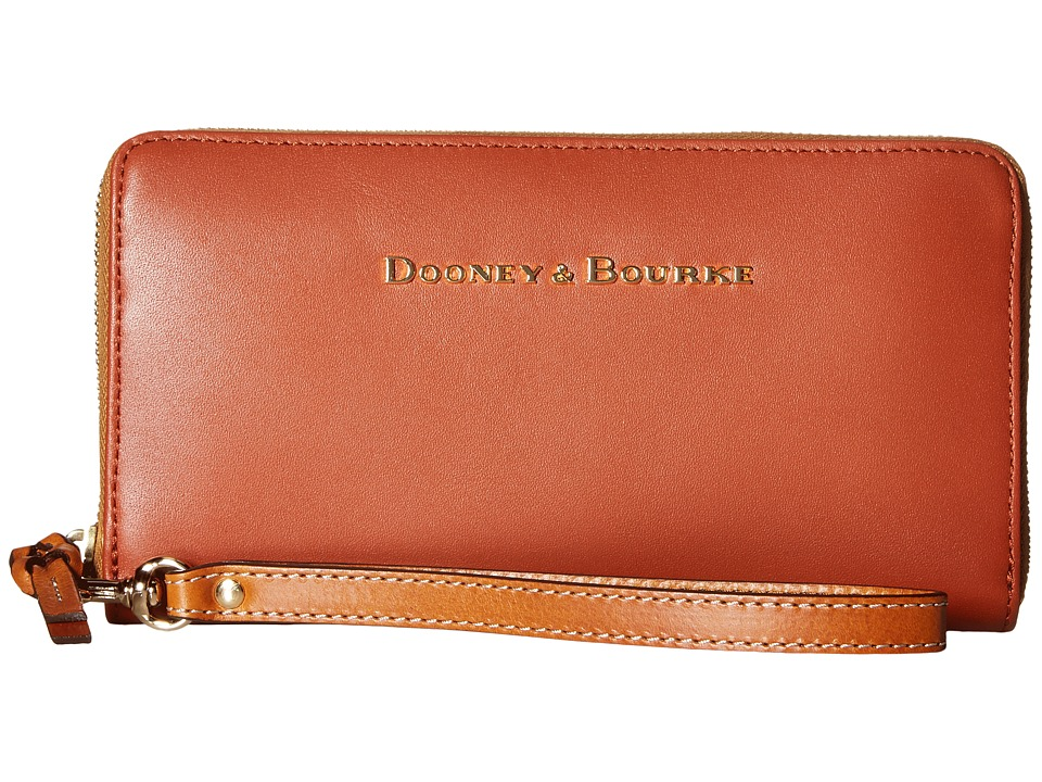 Dooney & Bourke - City Large Zip Around Wristlet (Cognac) Wristlet Handbags