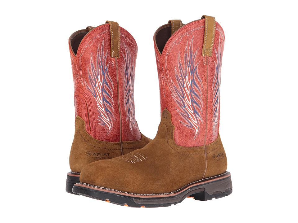 Ariat Workhog Mesteno II CT (Rough Brown/Fire) Cowboy Boots