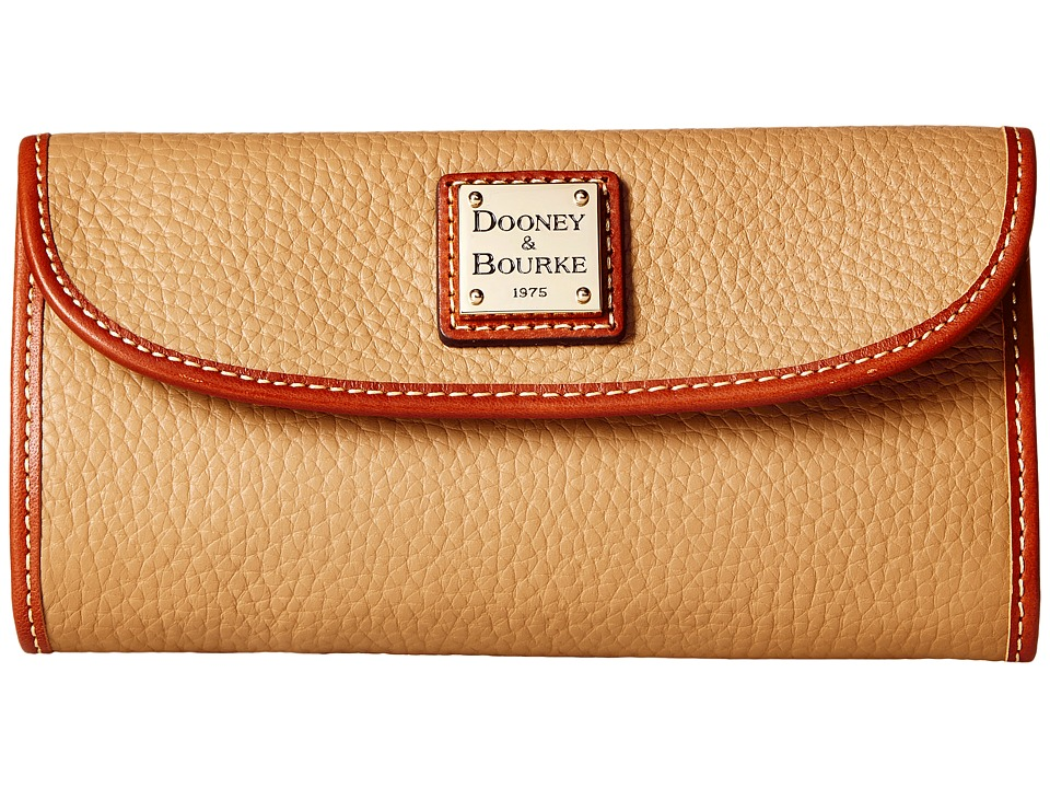 Dooney & Bourke Pebble Leather New SLGS Continental Clutch (Desert) Clutch Handbags