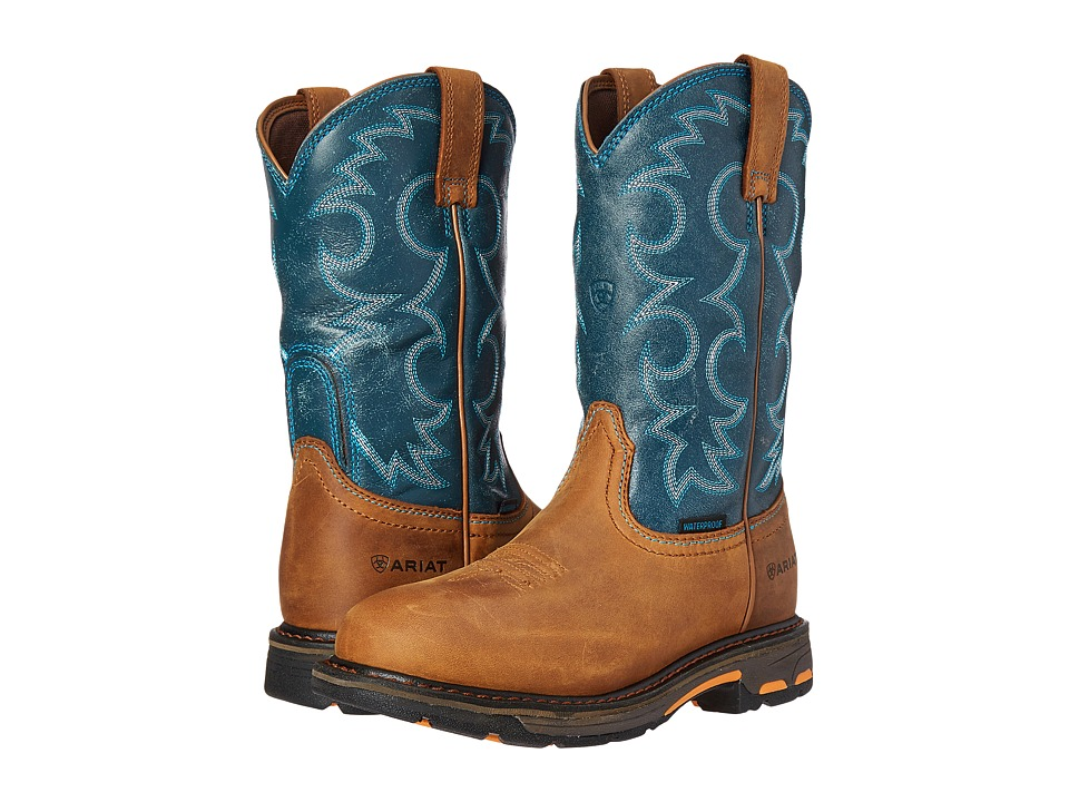 Ariat Workhog Pull-On WP (Aged Bark/Topaz) Women's Work Boots