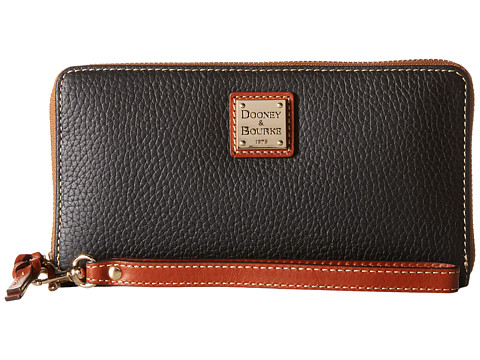 Dooney & Bourke Pebble Leather Large Zip Around Wristlet - Black