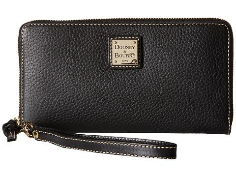 Dooney & Bourke Pebble Leather Large Zip Around Wristlet - Black/Black