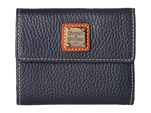 Dooney & Bourke Pebble Leather New SLGS Small Flap Credit Card Wallet - Midnight Blue