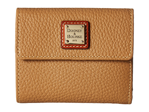 Dooney & Bourke Pebble Leather New SLGS Small Flap Credit Card Wallet - Desert