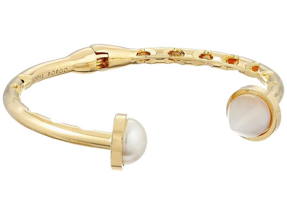 Eddie Borgo Inlaid Pearl Hinged Cuff Shiny Plated Brass/Pearl Bracelet