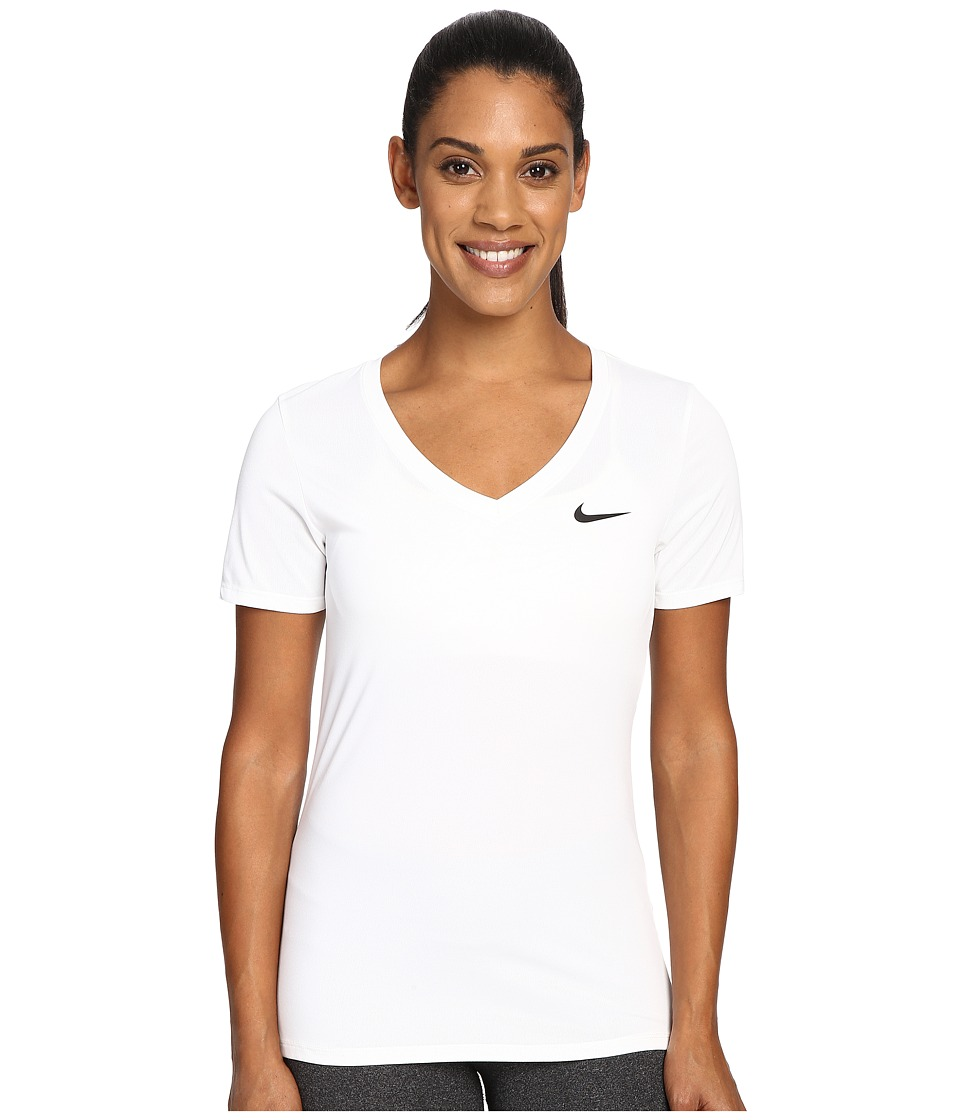 Nike Dry Legend V-Neck Shirt (White/Black) Women