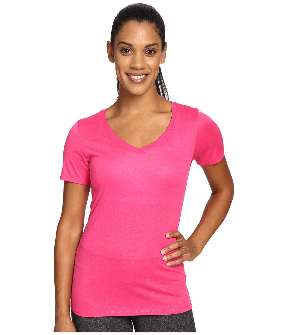 Nike Dry Legend V-Neck Shirt (Vivid Pink/Vivid Pink) Women