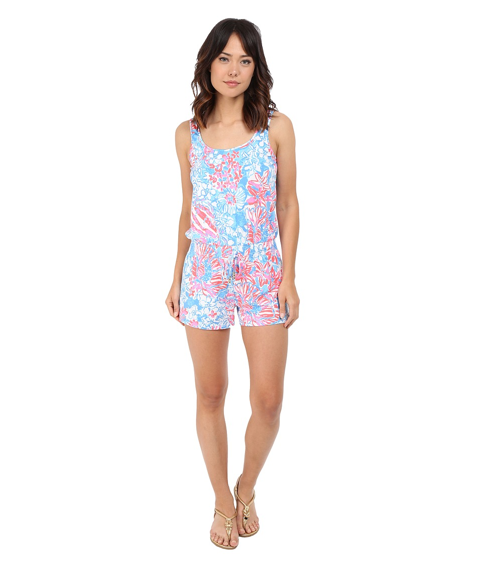 Lilly Pulitzer Tala Romper Bay Blue Pop Pop Womens Jumpsuit Rompers One Piece