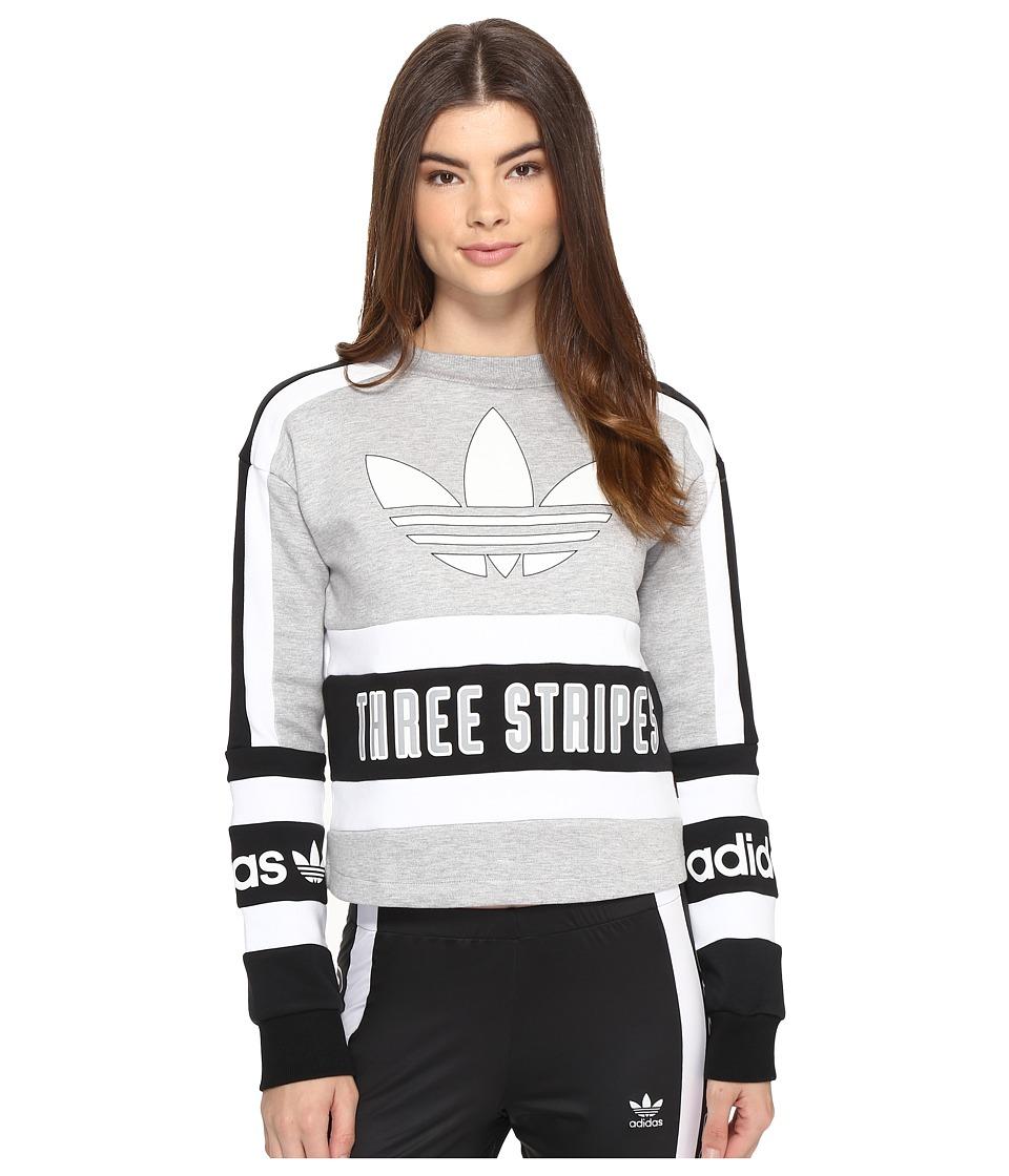 Image of adidas Originals - 3-Stripes Sweatshirt (Medium Grey Heather/Black/White) Women's Sweatshirt