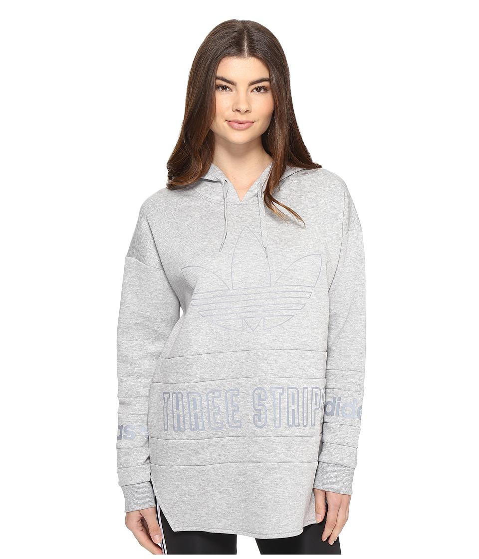 Image of adidas Originals - 3-Stripes Hoodie (Medium Grey Heather) Women's Sweatshirt