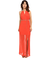 Sangria - Fortuny Pleat Keyhole Maxi Dress w/ Chain Details