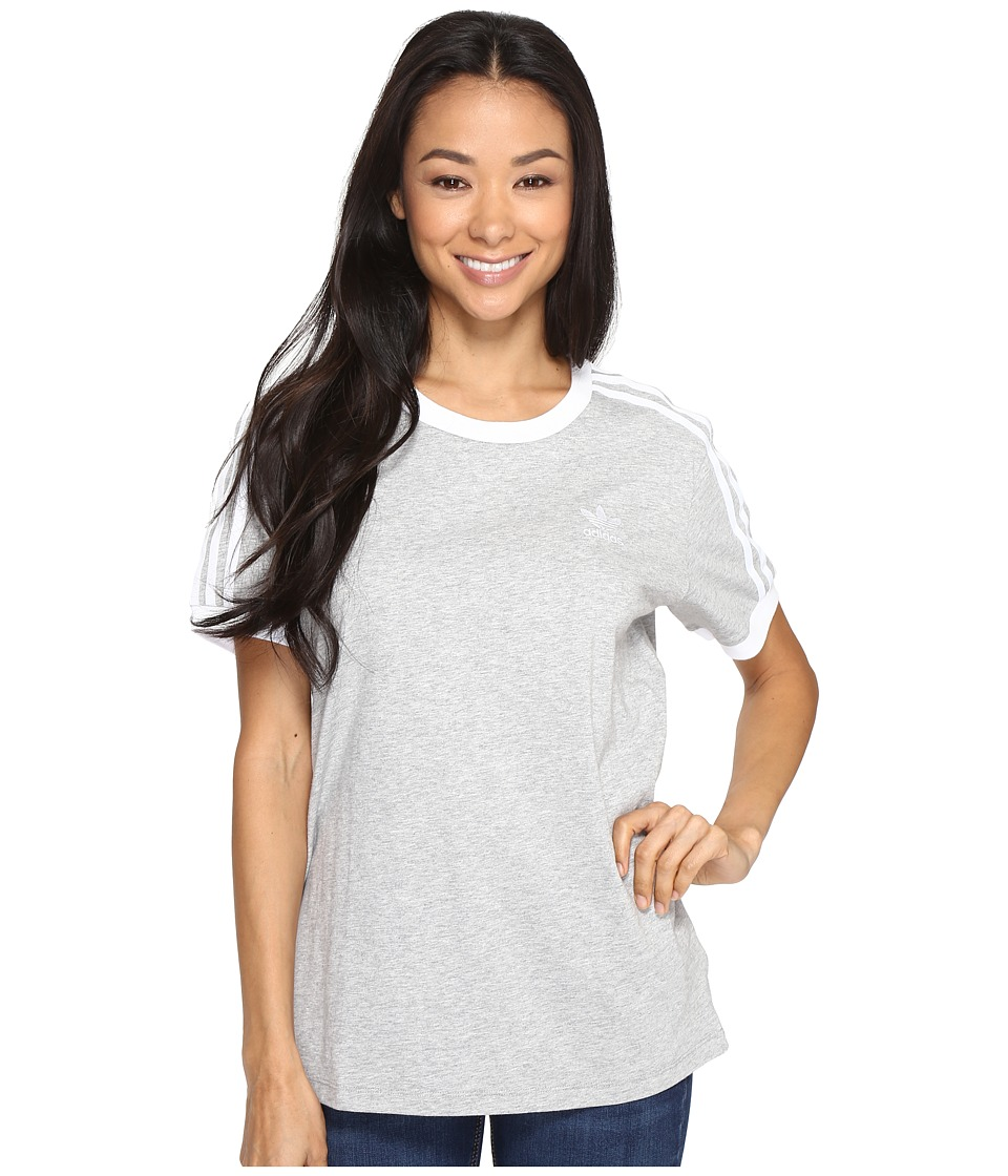 adidas Originals 3-Stripes Tee (Medium Grey Heather/White) Women