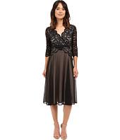 Sangria - 3/4 Sleeve V-Neck Lace Bodice w/ Chiffon Skirt