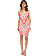 Sangria - Scoop Neck Chevron Striped Printed Scuba Sheath