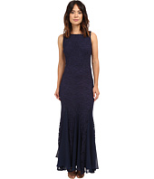 Sangria - All Over Lace Evening Gown w/ Godet Hem