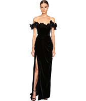 Marchesa - Velvet Off the Shoulder Column Gown with High Slit Embellished with Laser-Cut Organza and Velvet Flowers