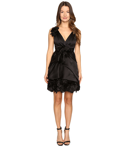 Marchesa Satin-Faced Organza Cocktail with Plunging Neckline and Laser-Cut Organza Flowers - Black