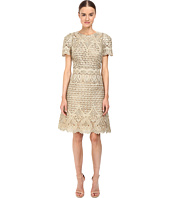 Marchesa - Ornate Laser-Cut and Threadwork Brocade Cocktail with Cap Sleeves