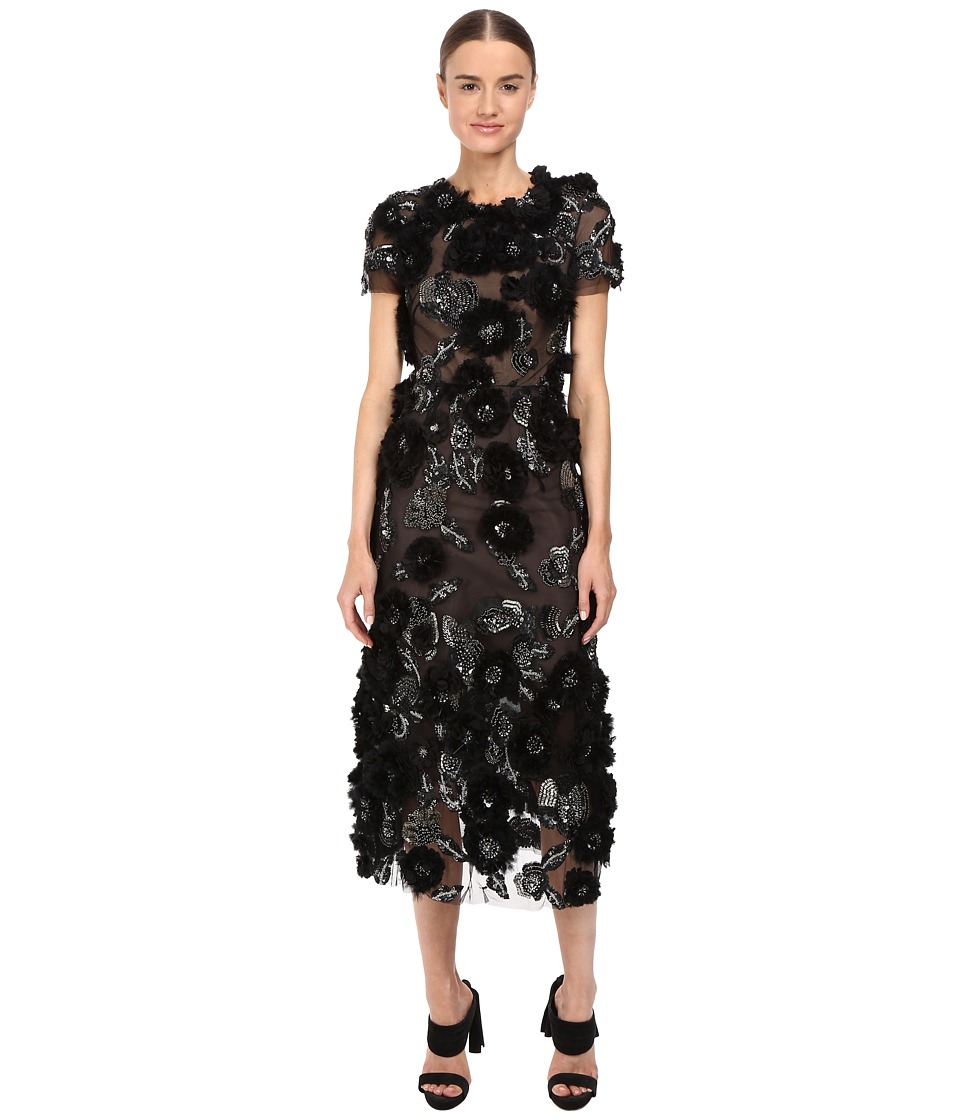 Marchesa Marchesa - Tulle Cocktail with Gunmetal and Jet 3D Feather Flower Embroidery