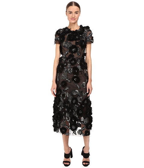 Marchesa Tulle Cocktail with Gunmetal and Jet 3D Feather Flower Embroidery