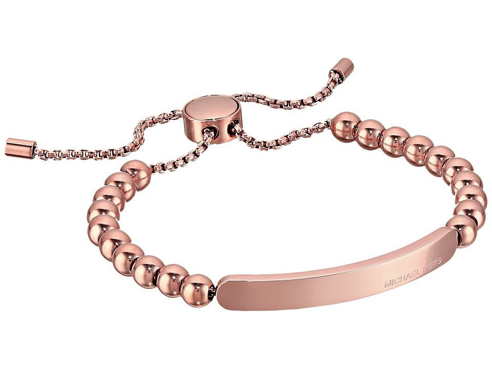 Michael Kors Logo Plaque Slider Bracelet Rose Gold Bracelet
