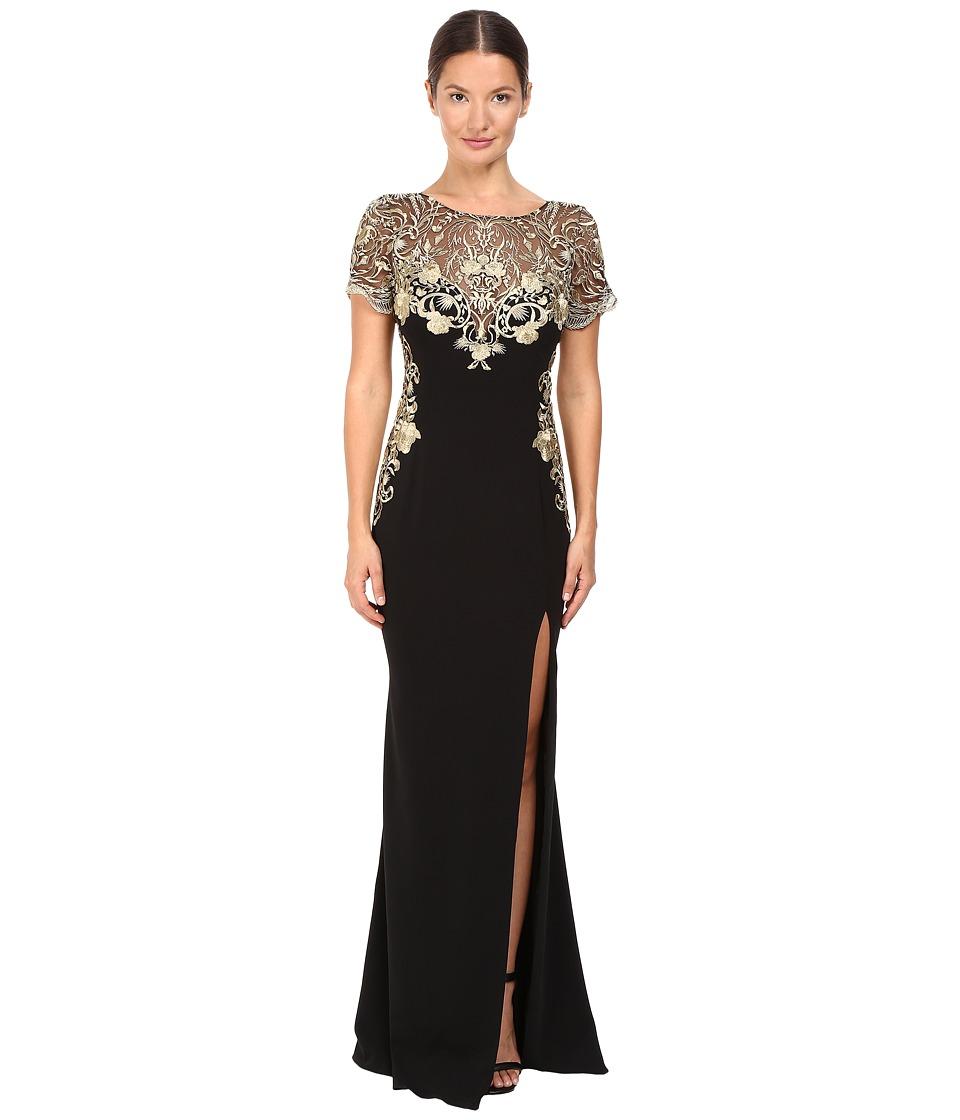 Marchesa Notte - Metallic Embroidered Gown (Black) Women's Dress