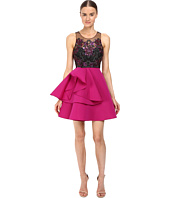 Marchesa Notte - Embroidered Cocktail with Draped Faille Skirt with Pocket