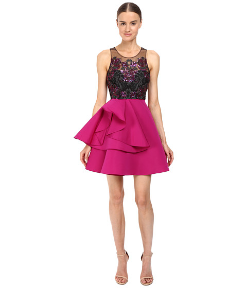 Marchesa Notte Embroidered Cocktail with Draped Faille Skirt with Pocket - Fuchsia