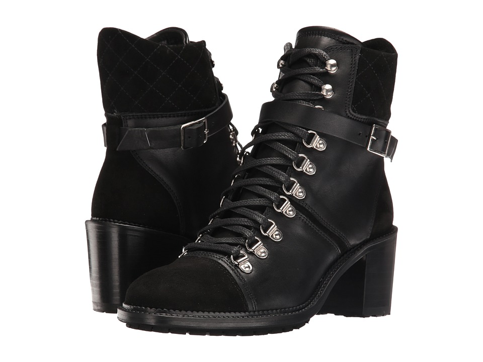 The Kooples Steffy Boots in A Smooth Leather and Calfskin Suede Mix (Black) Women