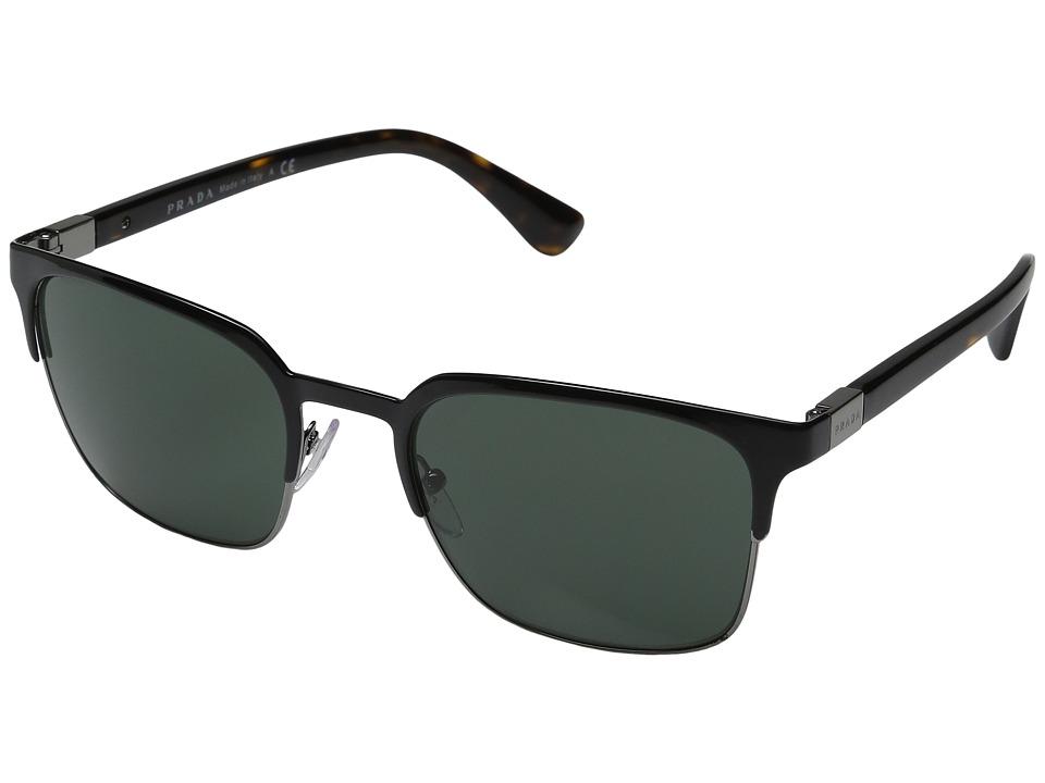 Prada 0PR 61SS (Black/Gunmetal/Grey/Green) Fashion Sungla...