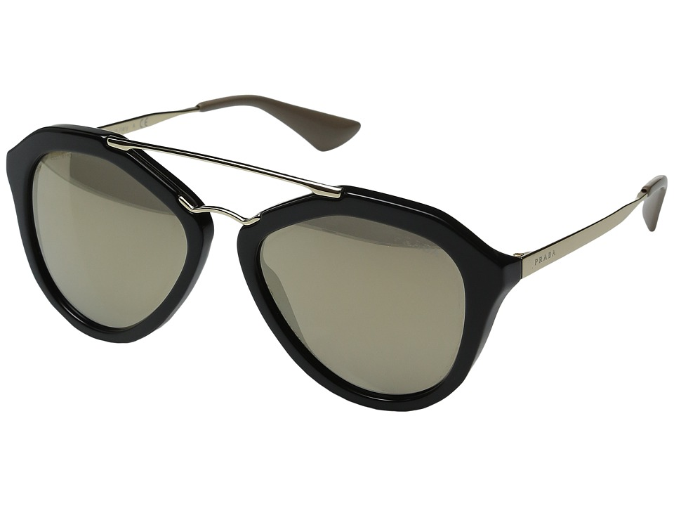 Prada - 0PR 12QS (Black/Light Brown/Mirror Gold) Fashion Sunglasses